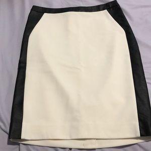 cream with black leather trim pencil skirt